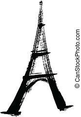 torre, eiffel, ilustración