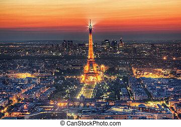 torre eiffel, luz, rendimiento, exposición, por la noche,...