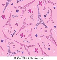 torre eiffel, paris, amor, cor-de-rosa, roxo, desenho, seamless, padrão, com, romanticos, hearts., perfeitos, para, viagem, themed, projetos, produtos, sacolas, acessórios, bagagem, clothing.