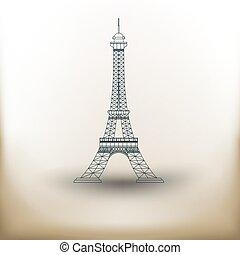 torre, eiffel, pictograma