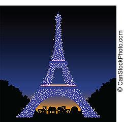 torre eiffel, por la noche