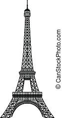 torre, eiffel, silhouette, nero