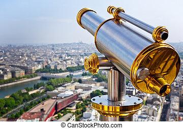 torre, eiffel, telescopio