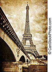 torre eiffel, vendimia, retro, vista, de, río de la jábega,...