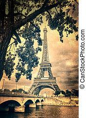 torre eiffel, vindima, retro, com, árvore, e, ponte