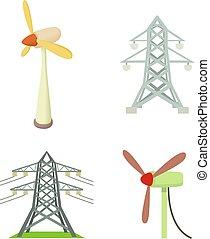 torre eléctrica, icono, conjunto, caricatura, estilo