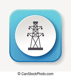 torre, elétrico, ícone