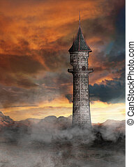 torre, em, mundo fantasia
