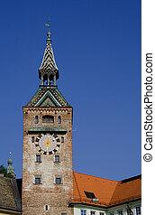 torre, en, cielo azul