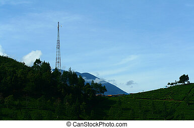 torre, encima de, el, colina
