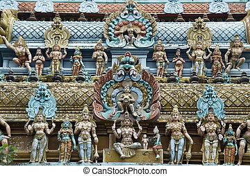 torre, estatuillas, templo