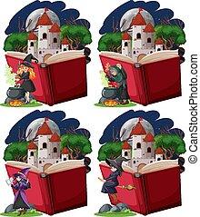 torre, estilo, arriba, caricatura, blanco, castillo, plano de fondo, conjunto, taponazo, brujas, libro