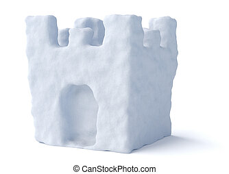 torre, fortaleza, aislado, nieve