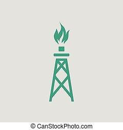 torre, gás, ícone