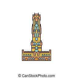 torre, icona, cartone animato, stile
