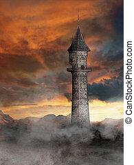torre, in, mondo fantasia