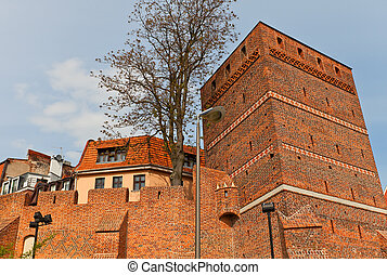 torre inclinada, (circa, xiv, c.), de, torun, cidade, polônia