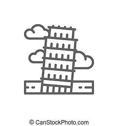 torre, itália, pisa, marco, linha, icon.