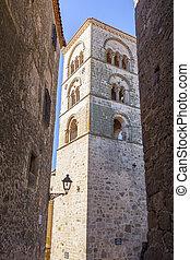 Torre Julia Santa Maria la Mayor church, Trujillo, Spain. ...