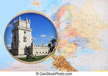 torre k belem, lisabon, portugalsko