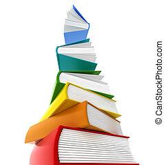 torre, libros, despellejar, whants