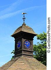 torre, madeira, relógio