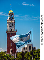 The Torre Monumental and Argentine flag