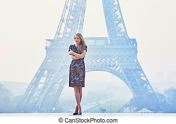 torre, mulher, manhã, eiffel, parisian