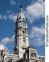 torre, orologio, salone, filadelfia, città