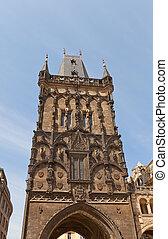 torre pó, (xv, c.), em, antigas, prague., unesco, local
