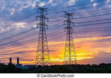 torre, pôr do sol, elétrico
