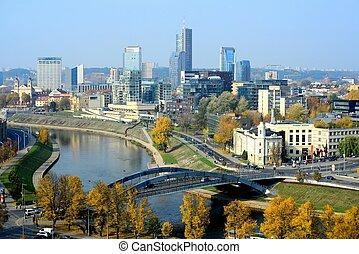 torre, panorama, gediminas, castillo, otoño, vilnius