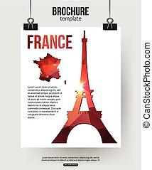 torre, parís, viaje, eiffel, mapa, francia, símbolo, fondo...