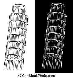 torre, propensión, dibujo, pisa