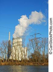 torre que se refresca, de, un, central nuclear