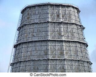 torre refrescante, de, um, grande, planta