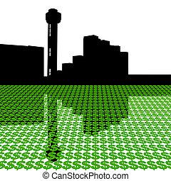 torre, reunión, dólares, dallas