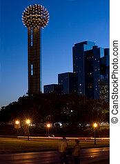 torre, reunión, noche