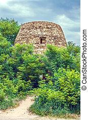 torre, rovine, vecchio, castello, abbandonato