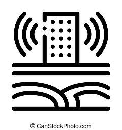 torre, sísmico, onda, contorno, vector, edificio, icono, ilustración