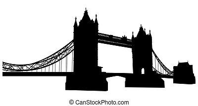 torre, silueta, ponte