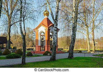 torre sino, de, santissimo, natividade, de, virgem, ortodoxo, convento, em, brest, belarus