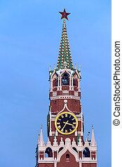 torre, spasskaya, kremlin, anochecer