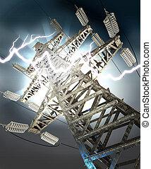 torre, strike., ad alta tensione, lampo
