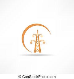torre transmisión, potencia, icono