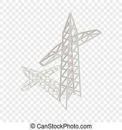 torre trasmissione, isometrico, potere, icona