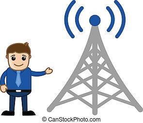 torre, uomo, rete, presentare