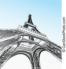 torre, vector, ilustración, eiffel