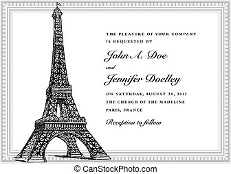 torre, vettore, matrimonio, eiffel, invito