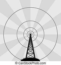 torre, vettore, radio